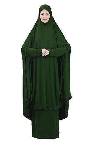 GladThink Mujer musulmán Adoración Abaya Top Traje Largo de murciélago con Hijab y Falda Vestido de 2 Piezas OscuroVerde M