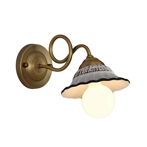 YBright Retro amerikanische Wandleuchte gebogenen Arm Art Metal-Befestigung Wandleuchte Laterne mit 11,8-Zoll-Keramik Shade Edison E27Wall Berg Licht for Nacht Wohnzimmer Korridor