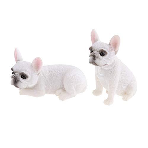 Tubayia 2 Unidades Realista Perro Modelo Animales Figura Estatua para casa, jardín, Oficina, Auto Decoración