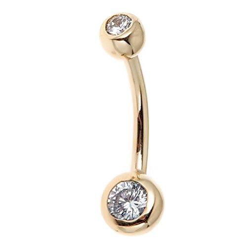 Ritastephens 14k Real Gold Bezel CZ Belly Button Navel Ring 14 Gauge