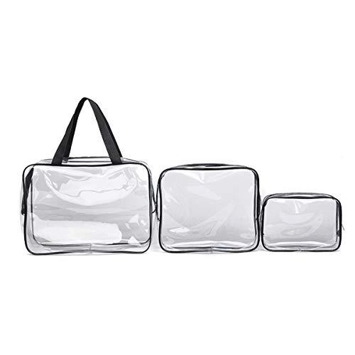 3 Piezas Bolsa Transparente de Mano Bolsa de Aseo Portátil con Cremallera Bolsa de PVC Transparente Neceser Transparente de Viaje Maquillaje Cosméticos Organizador Impermeable, 3 Multi-tamaños