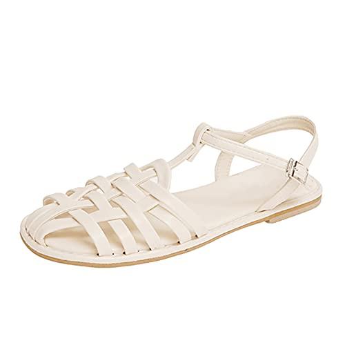 Señoras Gladiador Casual Correa Verano Plano Punta cerrada T-atado Zapatos de mujer Ancho ancho Playa al aire libre Moda Sandalias de negocios