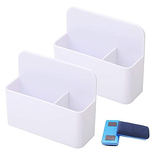 MOPOIN Portapenne Magnetico, 2 pezzi lavagna bianca Portapenne con 2 pezzi di spugna per lavagna bianca, portapenne magnetico per casa, ufficio, frigorifero, lavagna bianca, armadietto