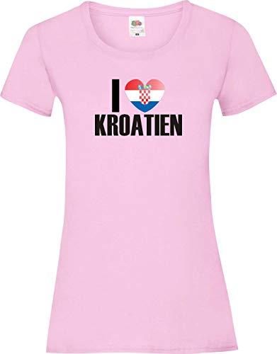 Shirtinstyle Shirt pour Femmes WM Shirt de pays I love Croatie couleurs diverses, Tailles XS-XL - Rose, XL