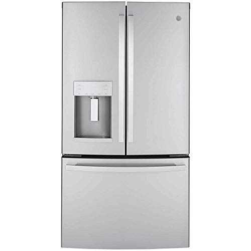 GE GYE22GYNFS 36' French Door Counter Depth Refrigerator with 22.1 cu. ft. Total Capacity Space Saving Ice Maker Showcase LED Lighting in Stainless Steel