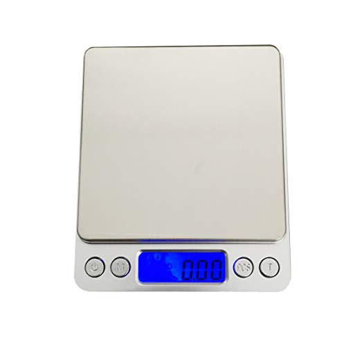 Báscula digital de cocina, 500 g/0,01 g, báscula digital profesional de alta precisión, básculas de alimentos de joyería, básculas nutricionales con pantalla LCD retroiluminada