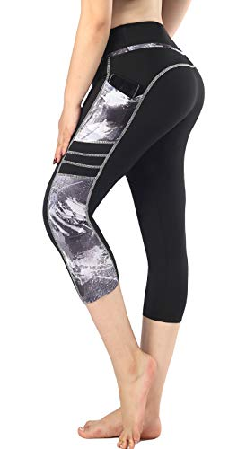 Zinmore Women's Capri Yoga Pants Exercise Running Workout Leggings with Pockets (Large, 1931-082)