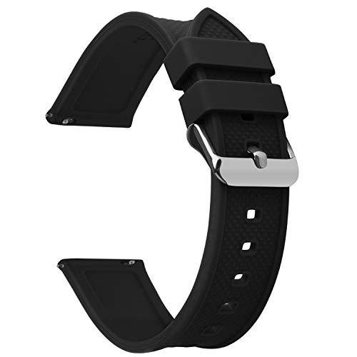 Fullmosa Quick Release Watch Band 18mm,Silicone Rubber watch band Bracelet Compatible Asus Zenwatch 2/LG Watch Style/Withings Activité/Steel HR 36mm,Black