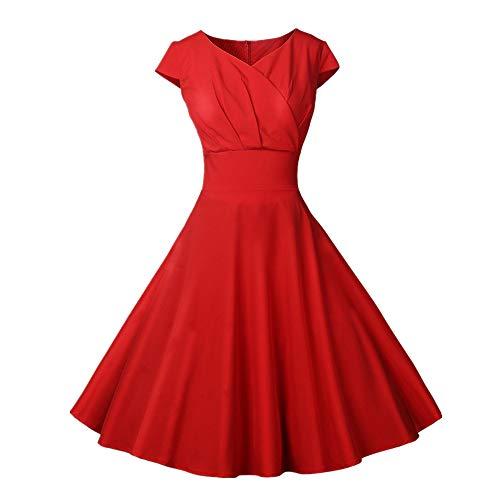 Vectry 1950er Vintage Retro Cocktailkleid Rockabilly V-Ausschnitt Faltenrock Damen Vintage Kleid 50s Kleid Sommerkleid Knielang Kleid Damen Elegant 50er Jahre Kleider Petticoat Kleider(rot, XL)