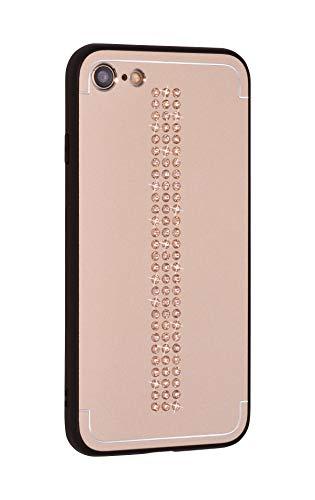 iShield Cover Lux per iPhone 8/7/SE(2020), Line con *81* Cristalli Swarovski. Custodia Ibrida in Alluminio Satinato con Telaio in TPU Soft-Touch. (Line Gold)