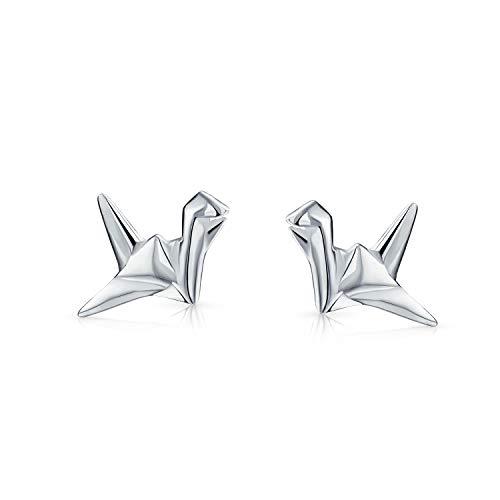 Petit Jardin 3D Géométrique Oiseaux Grue Origami Swan Clous Et Puces D'Oreille Pour Femme Ados En Argent