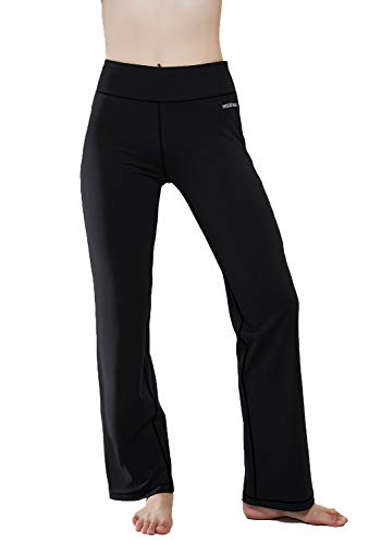 HISKYWIN Inner Pocket Yoga Pants 4 Way Stretch Tummy Control Workout Running Pants, Long Bootleg Flare Pants Black-L