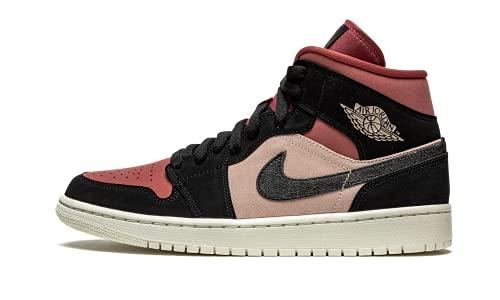 Nike WMNS AIR Jordan 1 Mid, Chaussure de Basketball Femme, Particle Beige Black Canyon Rust Sail BRT Mango, 40.5 EU