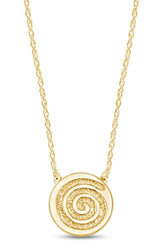 Minimalist Dainty Celtic Single Spiral Pendant Necklace in 14k Yellow Gold Plated 925 Sterling Silver Along with 18' Rope Cain