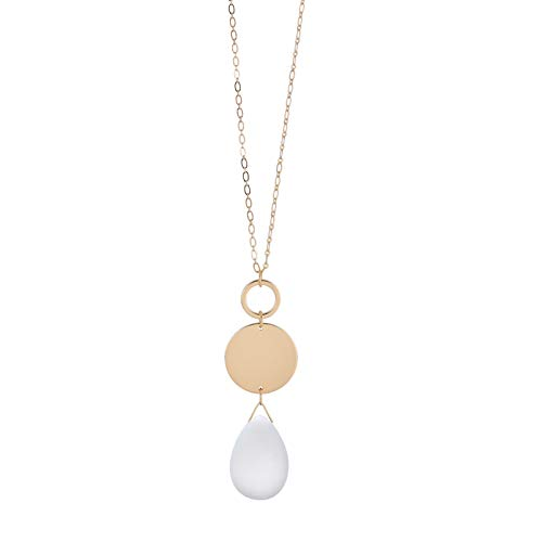 White Stone Long Pendant Necklace for Women