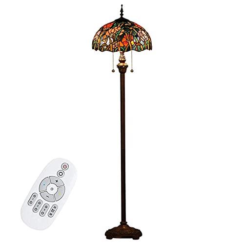 Lámpara de pie Lámpara de lectura, Lámpara de pie de estilo vintage, 3 temperaturas de color Flores rojas Lámpara de escritorio con vitrales, Luces de noche para lectura de la sala de estar del dormi