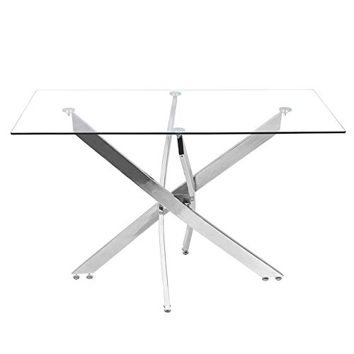 INMOZATA Modern Rectangular Dining table Tempered Glass with Chrome Legs for Kitchen Dining Living Room