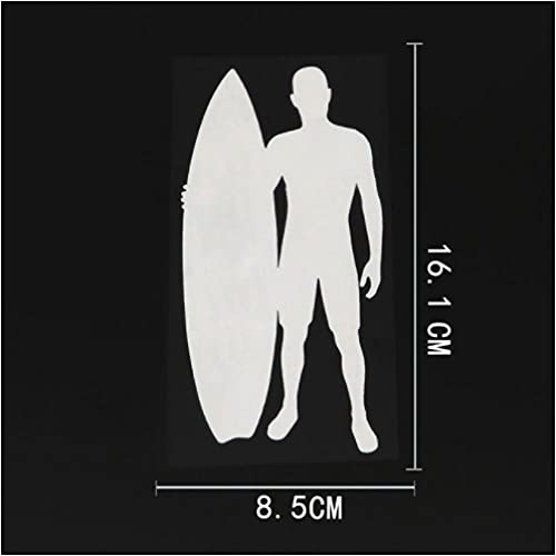 4 Piezas Etiqueta engomada del coche16,1 cm x 8,5 cm Surfista Tabla de Surf calcomanía Deportiva Vinilo Coche Pegatina Blanco