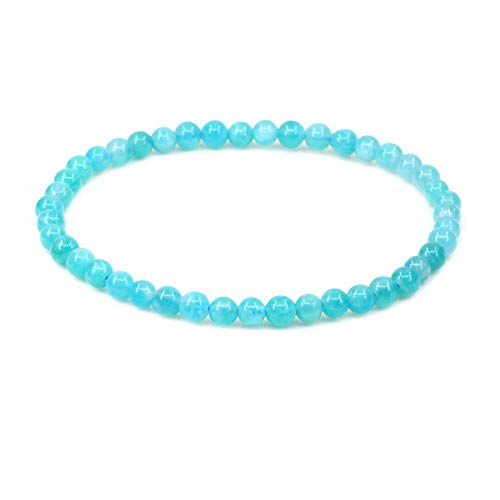 CHENYUE Natural Xin Jiang A Grade Blue Amazonite 4mm Round Beads Stretch Pulsera 17,78 cm Unisex