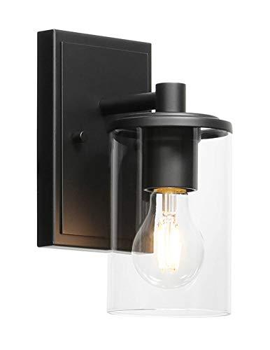 XiNBEi Lighting Aplique de pared, 1 luz, luz de tocador para baño con vidrio, apliques negros modernos para interiores, iluminación de pared XB-W1240-1-MB