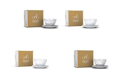 4 x Tasse by FIFTYEIGHT - grinsend + lecker + verpennt + küssend - Kaffeetassen 2-tlg. weiß