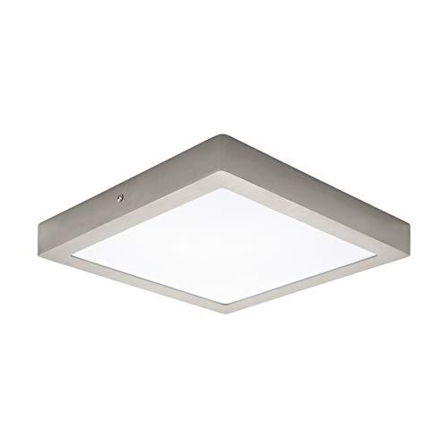 EGLO LED Deckenleuchte Fueva 1, 1 flammige Deckenlampe, Material: Metallguss, Kunststoff, Farbe: Nickel matt, weiß, L: 30x30 cm, warmweiß