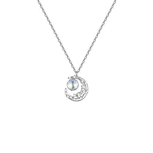 VBN Sterling Silber Mond Halskette Einfache Nische Design Schlüsselbein Kette Netz Rotlicht Halbmond Anhänger