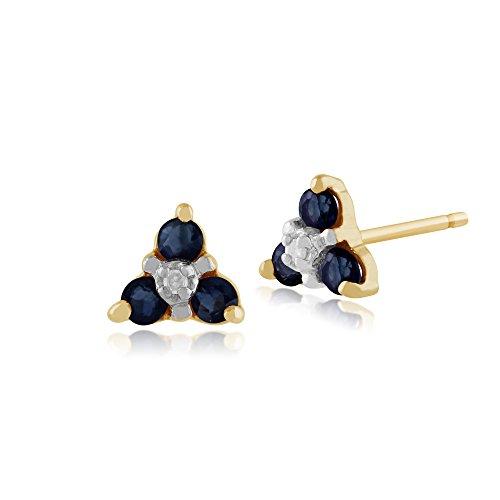 Gemondo Zaffiro Orecchini A Perno 9ct Oro Giallo 0.3ct Zaffiro E Diamante Tre Pietre Orecchini Disposti A Grappolo
