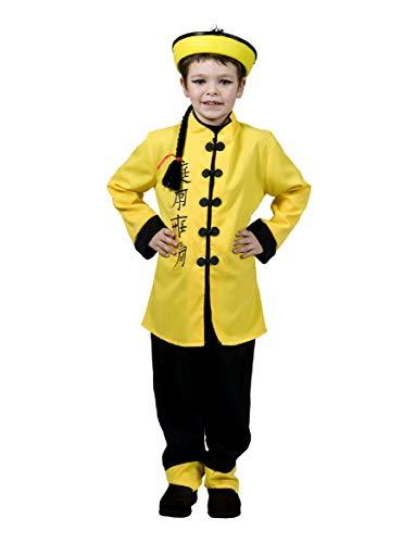 Funny Fashion Disfraz de niño Túnica China Pantalones Amarillos Disfraz asiático Carnaval de China (164)