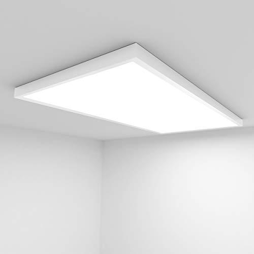 Vkele [Premium 138 lm/W] LED Panel 120x60cm Naturweiß 4000K 72W 10000 Lumen Weißrahmen Led Panel Deckenleuchte, LED-Lampe, Deckenlampe, Büroleuchten mit Montagerahmen Aufbaurahmen Weiß