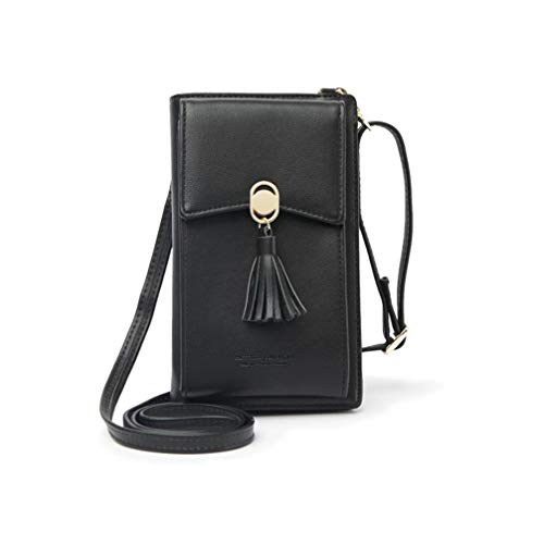 HMILYDYK Frauen Brieftasche Cross-Body Tasche Leder Geldbörse Handy Mini-Tasche Kartenhalter Schulter Brieftasche Tasche (tassel black)