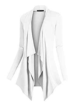 Urban CoCo Women s Drape Front Open Cardigan Long Sleeve Irregular Hem  S White