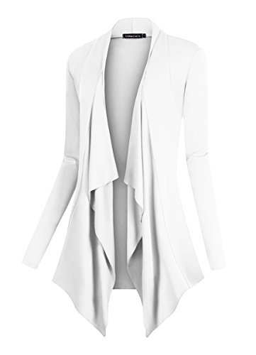 Urban CoCo Women's Drape Front Open Cardigan Long Sleeve Irregular Hem (XL, White)