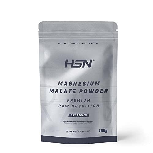 Malato de Magnesio en Polvo de HSN | Magnesio + Ácido Málico | Reduce Cansancio y Fatiga | Excelente Solubilidad | No-GMO, Vegano, Sin Gluten, Sin Lactosa, Sin Aditivos | Sabor Neutro | 150 gr