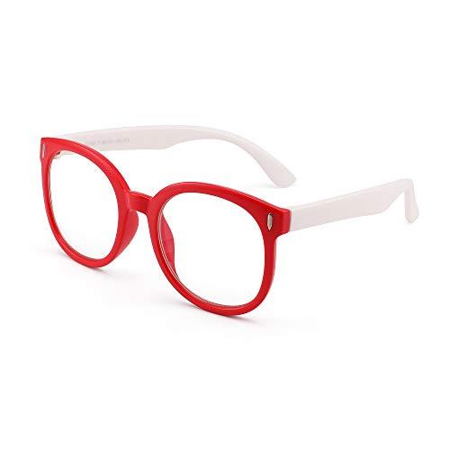 JM Kids Large Round Blue Light Blocking Glasses Girls Boys Occhiali anti affaticamento della vista per computer, telefoni, TV, videogiochi Rosso Bianco
