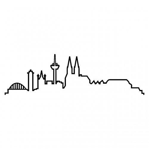 Skyline4u Skyline Silhouette Köln Aufkleber für Auto oder Wohnmobil in 8 Größen und 25 Farben (15x4,4cm schwarz)