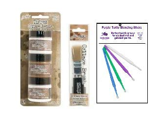 Ranger Tim Holtz Distress Collage Bundle - Matte, Vintage and Crazing Collage Medium with Collage Brush and PTP Flash Deals Blending Sticks