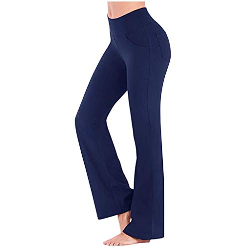BOLAWOO-77 Yogahosen Damen Sporthose Lang Jazzpants Frauen Jogginghose Mit Taschen Mode Basic Trainingshose Fitnesshose Mode Kleidung Jogginghose (Color : Blau, Einheitsgröße : XL)