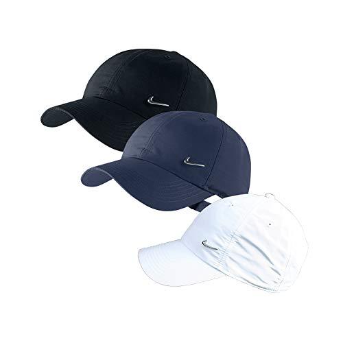 Nike 3er Set Metal Swoosh Logo Cap in Weiß, Blau und/oder Schwarz Basecap verstellbar Uni (1x Weiß + 1x Blau + 1x Schwarz)