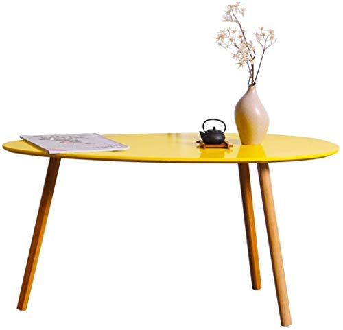 Dongy Pequeño café Sofá Lado del Extremo de cabecera Mesa Redonda Oval de bambú Mini Creativo Sencillo Dormitorio balcón (Color, Amarillo, tamaño, 90x45.5x45.5cm)