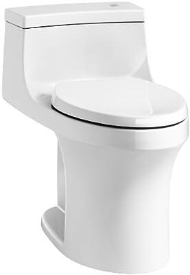 KOHLER K-4000-0 San Souci Touchless Comfort Height 1.28 GPF Elongated Toilet with AquaPiston Flushing Technology, White, 1-Piece