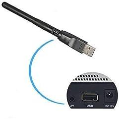 2,4gHz 150Mbps USB WiFi adaptador con antena, 11N Dongle inalámbrico para MAG 254250iptv Set Top Box Skybox Openbox Raspberry Pi/PC/escritorio/portátiles/win7,8,10/Mac OS/Linux (RT5370memoria)
