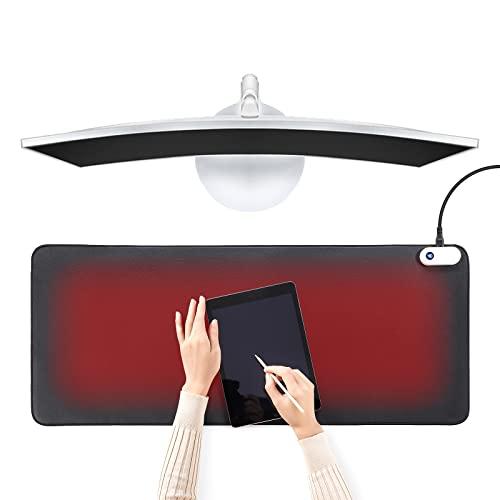 Mauspad mit Funktion Heizung, Beheizter Schreibtischunterlage, Erweitertes Mausepad, Warme Tischmatte, Große Mausmatte, Tischunterlage Schreibtisch Pad, Tisch Warm Pad für Büro/Zuhause Winter
