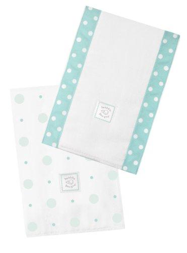 SwaddleDesigns Baby Burpies, Set de 2 Linges Protège Épaule Coton, Grands Pois Mini Pois, SeaCrystal