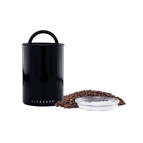 AirScape Edelstahl Lebensmittelkonservierungsbox - Patentierte hermetische innere Vakuumdeckelluft - oberer Glasdeckel - schwarz lackiert - Volumen 1,9L - Fassungsvermögen 500g
