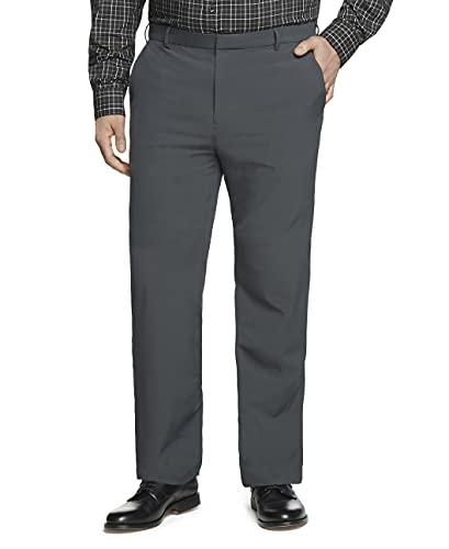 Van Heusen Men's Big & Tall Big and Tall Stain Shield Stretch Straight Fit Flat Front Dress Pant, Charcoal Smoke, 46W x 29L