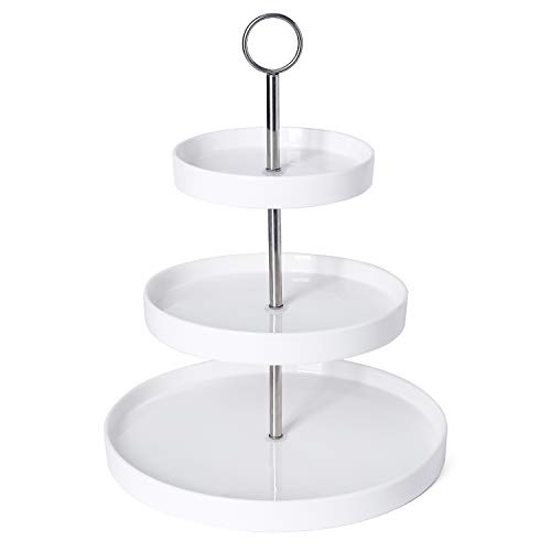 Sweese 734.101 3-Tier Porcelain Cupcake Stand, Tiered Dessert Stand, Cake Stand - White Porcelain Round Plates for Tea Party Wedding Baby Shower Buffet Server