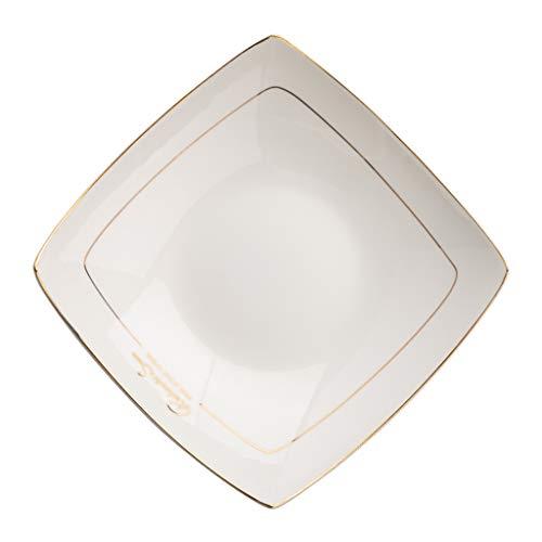 CHRYE-Platos Plato Sopa Cuadrado de 8 Pulgadas/Plato Profundo, 45% Material de China de Hueso, Filo Dorado, Esmalte Fino y Suave, Vajilla Esencial para el Hogar, Blanco
