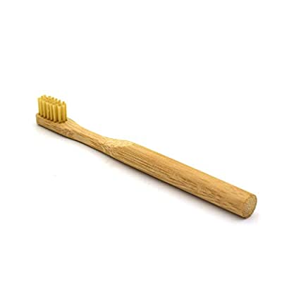 Kuhxz 1PC Pure Bamboo Natural Toothbrush or Brush Case Environmentally Friendly Eco Medium for Adult Kids Oral Cleaning (General Size, Kids:Gold)