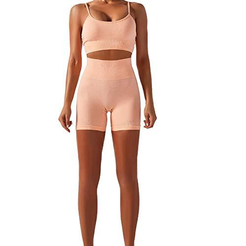 DAY8 Damen, bequem & atmungsaktiv Voller Kreativität Nahtlose Nähen Yoga Fitness Laufen Reiten zweiteiligen Anzug